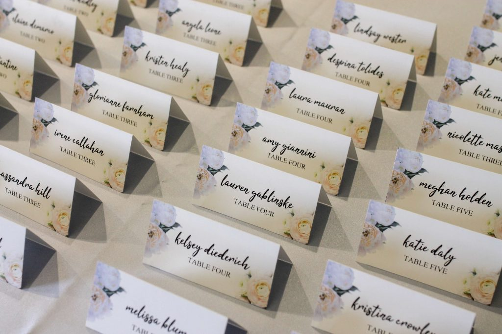 bridal shower table guest escort cards